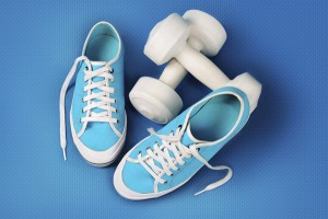Blue Gym Shoes and Dumbells