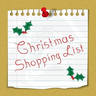 Christmas Shopping List Reminder Note Stuck On Notice Board 80668